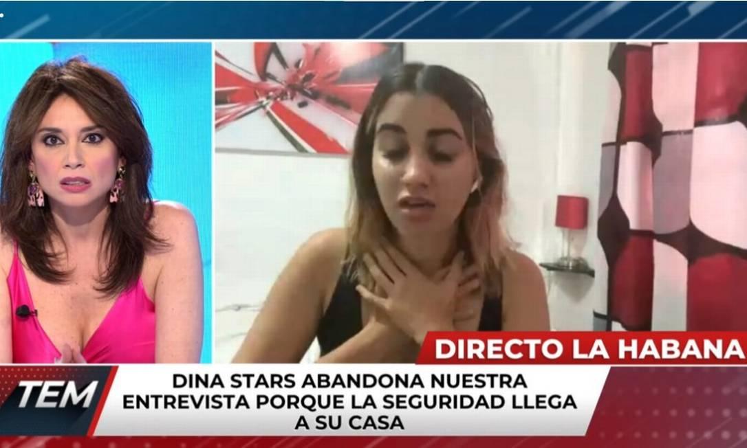 Dina Stars antes de encerrar entrevista ao ser presa pela polícia de Cuba Foto: Reprodução / Canal Quatro