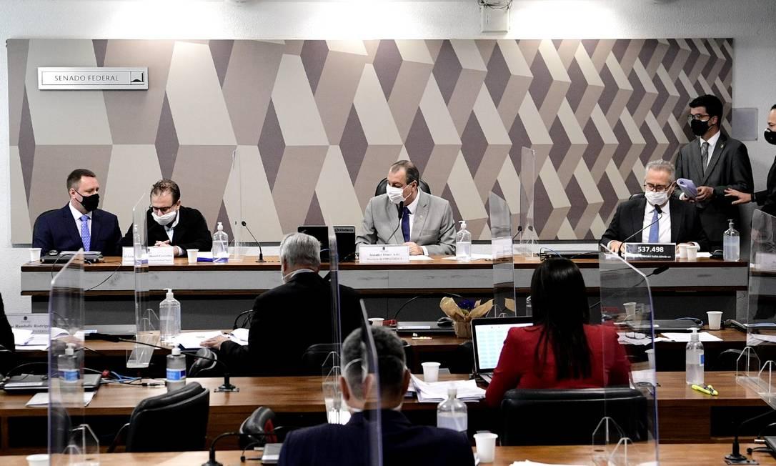 Cristiano Alberto Carvalho, representante da Davati Medical Supply, presta depoimento à CPI da Covid, no Senado Foto: Agência Senado