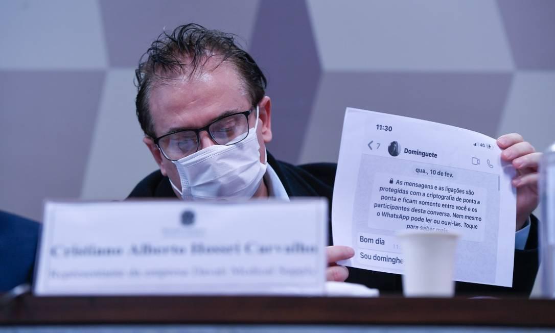 Cristiano Alberto Carvalho, representante da Davati Medical Supply, presta depoimento à CPI da Covid, no Senado Foto: Edilson Rodrigues/Agência Senado