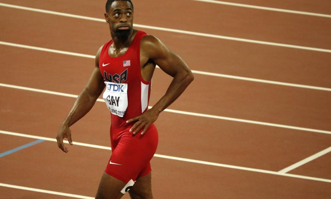 O atleta dos Estados Unidos Tyson Gay fez com que a delegação perdesse a medalha de prata conquistada em Londres 2012 pelo uso de anabolizantes Foto: Mark Schiefelbein / AP