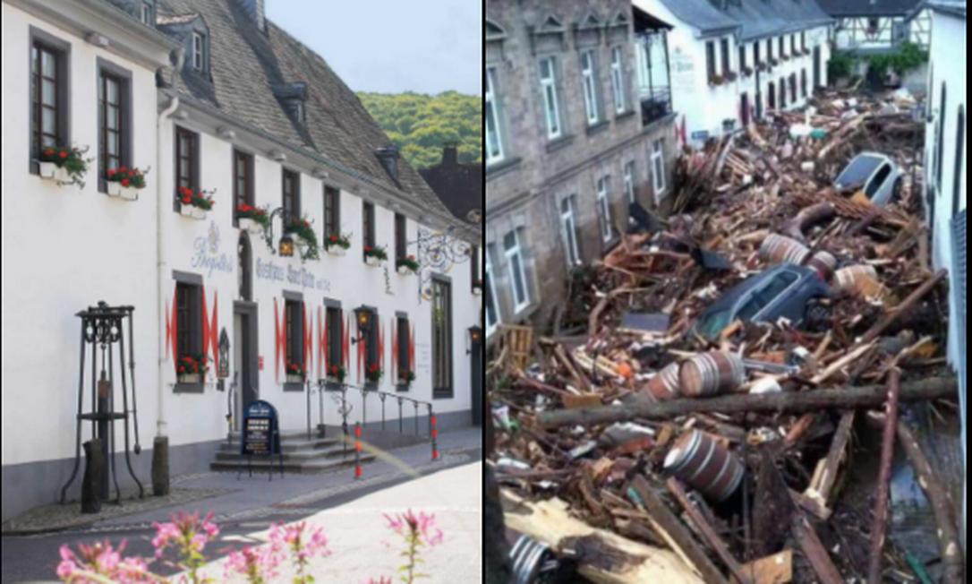 Antes e depois do restaurante onde Lucas Spader trabalha, que foi afetado por forte chuva que atingiu a Alemanha Foto: Arquivo pessoal