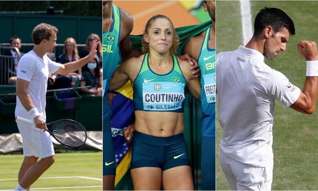 Marcelo Melo (tênis), Geisa Coutinho (atletismo) e Djokovic (tênis) serão veteranos desta edição olímpica Foto: Arquivo