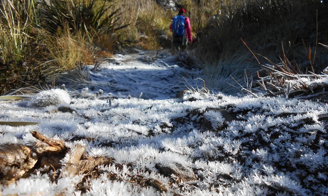 Imagem de domingo passado na trilha para a Asa de Hermes, próximo à bifurcação com a trilha das Agulhas Negras, no Parque Nacional de Itatiaia Foto: Igor Spanner