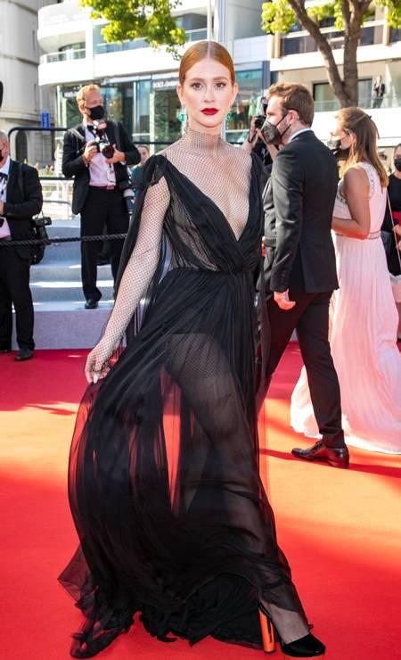 Só deu Brasil no tapete vermelho do Festival de Cannes. Com transparências reveladoras, Marina Ruy Barbosa parou o evento com look poderoso da Valentino Foto: Marc Piasecki / FilmMagic