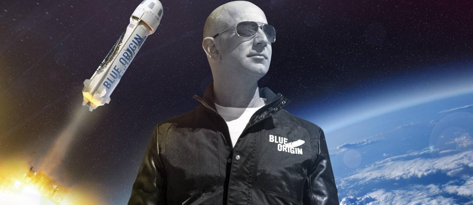O bilionário Jeff Bezos: prestes a dar um dos passos mais importantes e arriscados de sua trajetória Foto: Editoria de Arte