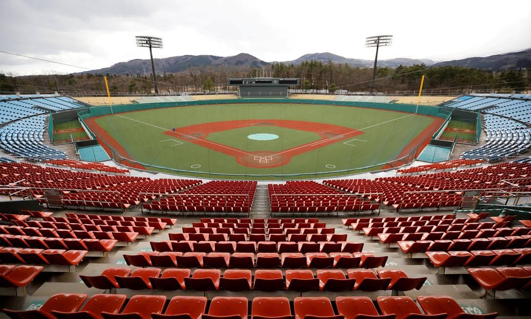 O Estádio de Azuma, em Fukushima, palco das partidas de softbol e beisebol na Olimpíada de Tóquio: região foi afetada por desastre nuclear em 2011 Foto: Issei Kato / REUTERS