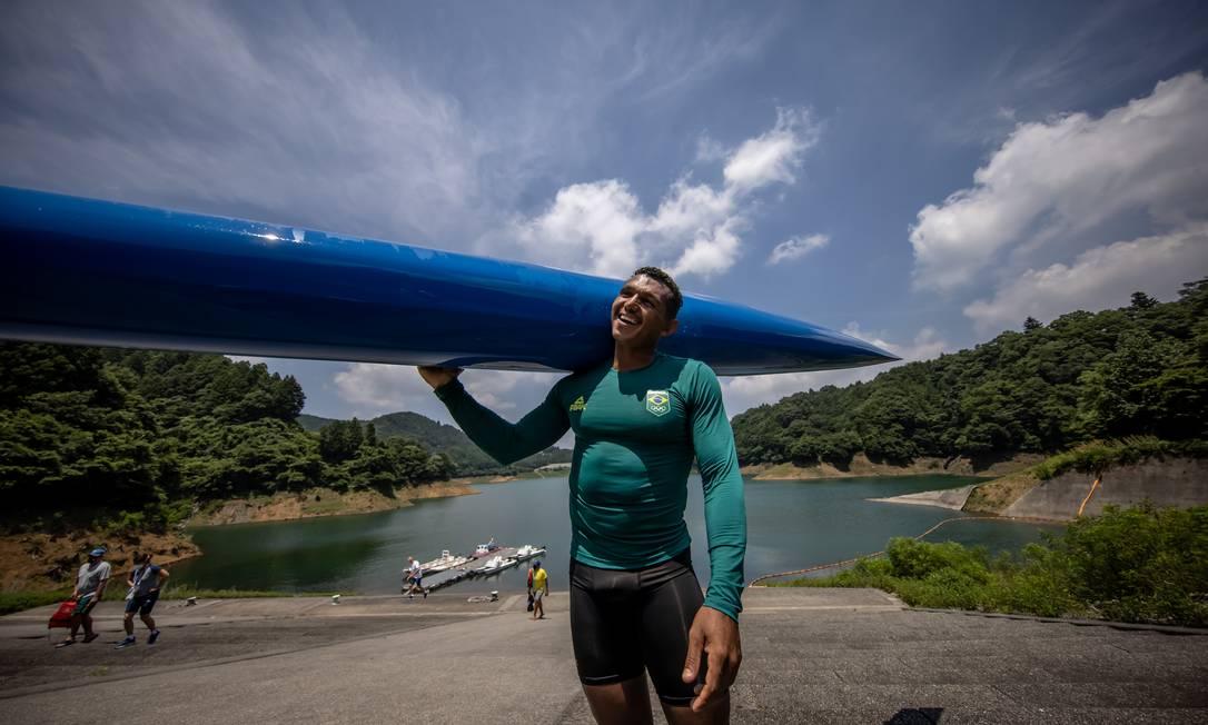 -Isaquias Queiroz durante treino na cidade japonesa de Miyagase Foto: Jonne Roriz / Jonne Roriz/COB