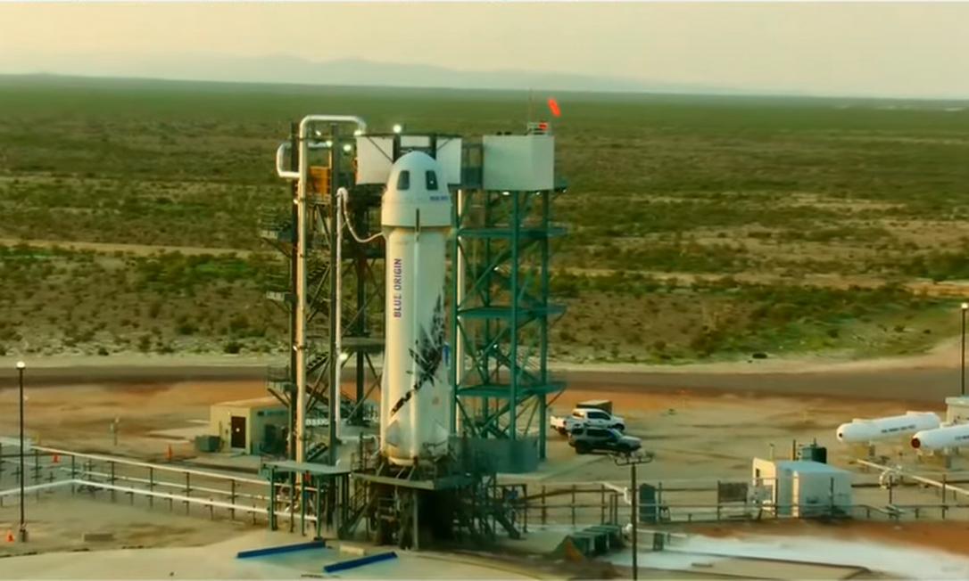 Foguete NewShepard decolará às 10h de um deserto no oeste do Texas Foto: Reprodução/Blue Origin