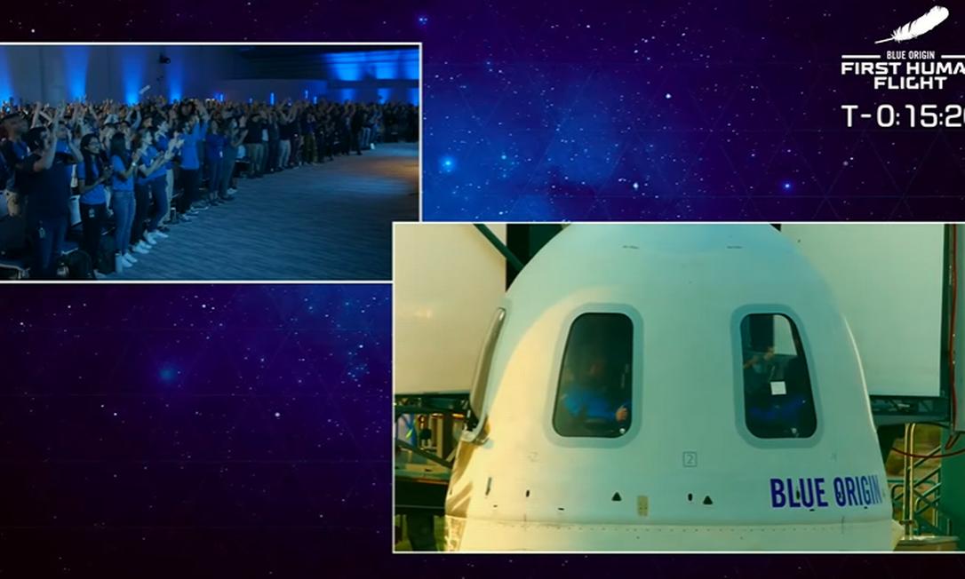 Em Washington, equipe da Blue Origin aguarda lançamento Foto: Reprodução/Blue Origin