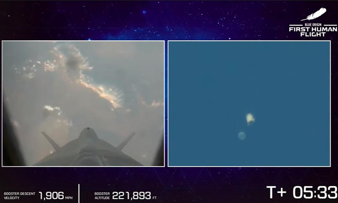 Cápsula se separa do propulsor. Propulsor inicia retorno à Terra, enquanto cápsula segue até a linha de Kárman Foto: Reprodução/Blue Origin