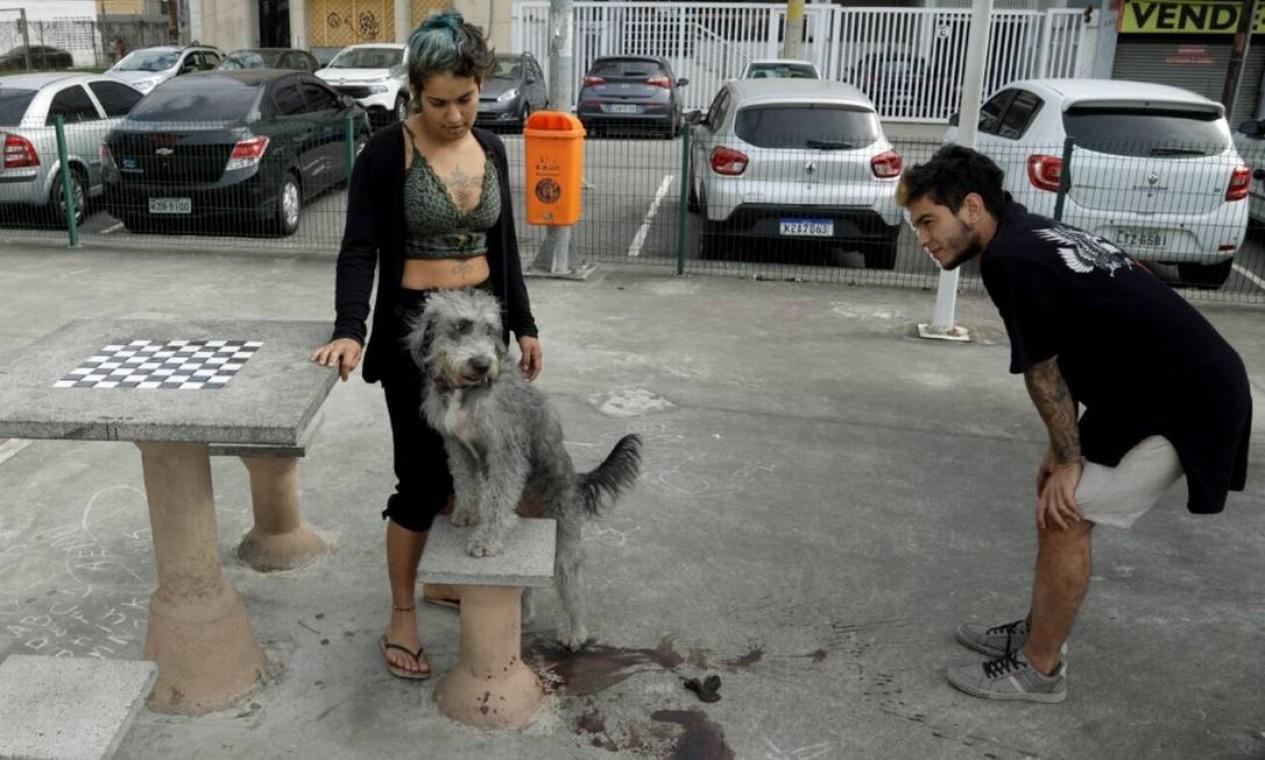 Mayume e Fabian Sanches com outro animal que pertence ao casal Foto: Gabriel de Paiva / Agência O Globo