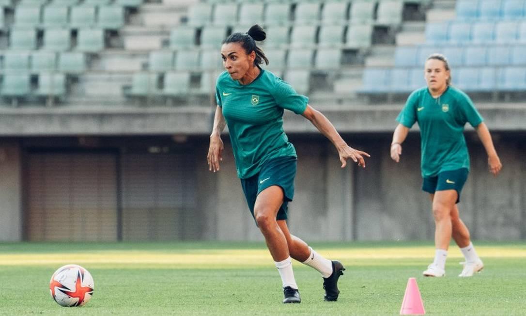 Marta, durante última preparação para o jogo desta quarta-feira Foto: Sam Robles / CBF