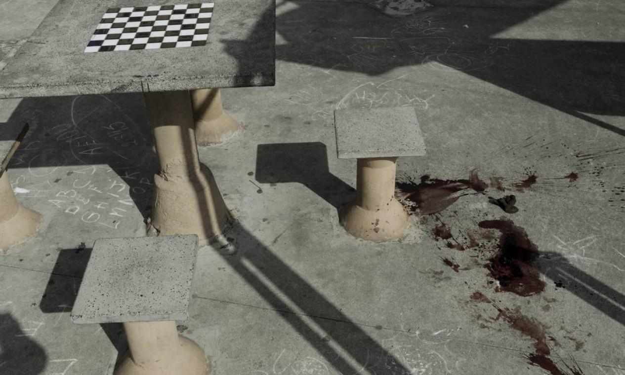Cadela foi assassinada próximo à mesa de xadrez da Praça da Bandeira, na Zona Norte do Rio Foto: Gabriel de Paiva / Agência O Globo