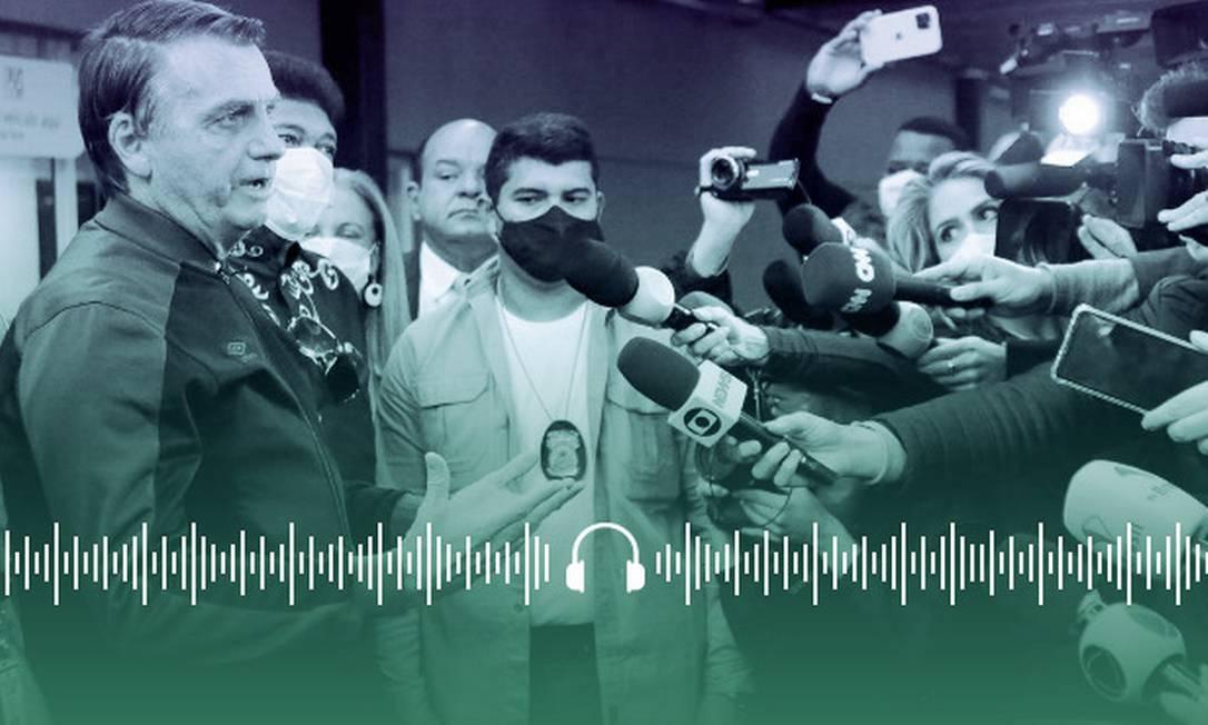 Bolsonaro conversa com jornalistas na porta do Hospital Vila Nova Star, em São Paulo, onde esteve internado para tratar uma obstrução intestinal Foto: Arte