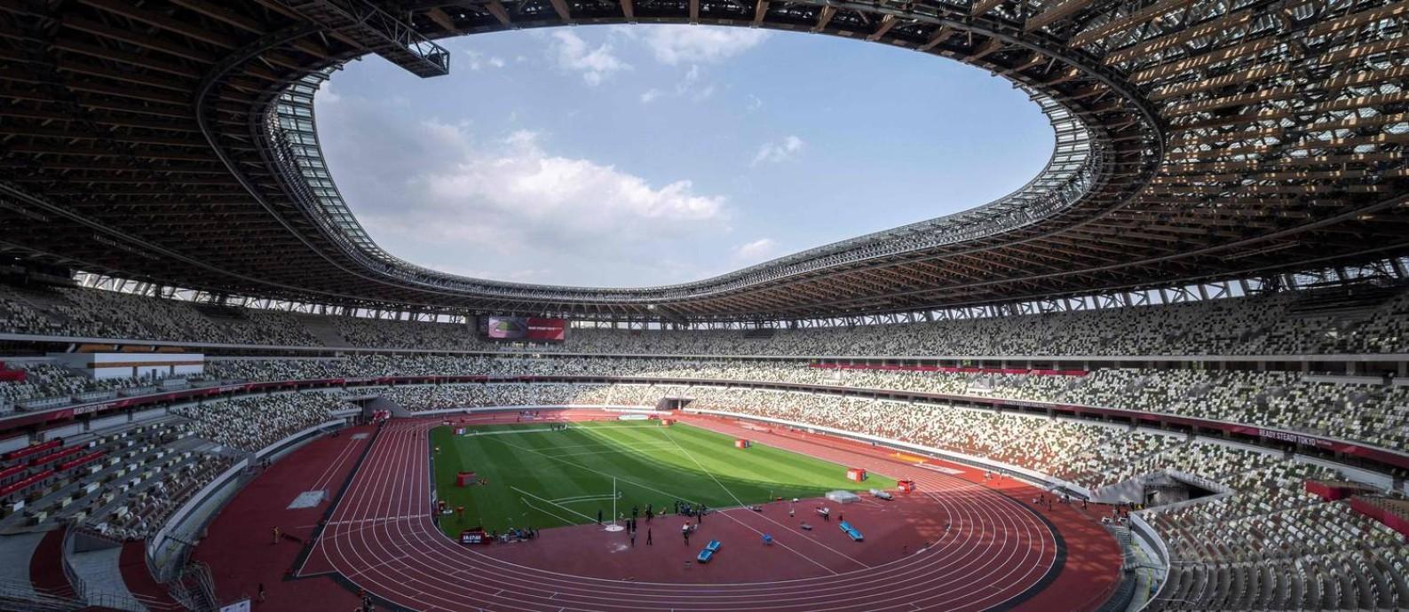 Estádio Nacional de Tóquio custou cerca de US$ 1,4 bilhão Foto: CHARLY TRIBALLEAU / AFP