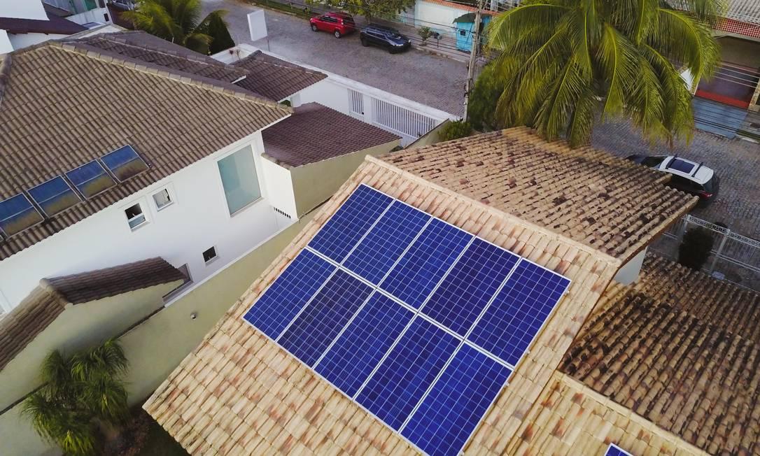 Casas com painéis solares em Campos dos Goytacazes, no interior do Rio Foto: Divulgação