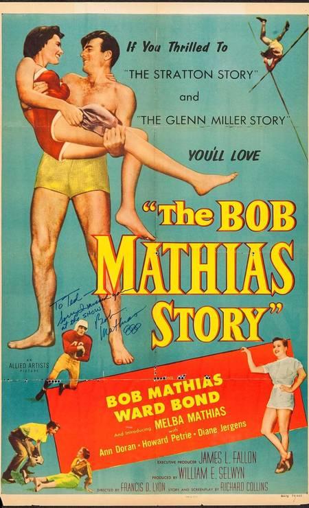 Produção americana de 1954, 'The Bob Mathias Story' reconstitui a trajetória do primeiro homem a ganhar duas medalhas de ouro olímpicas seguidas no decathlon, em LONDRES-1948 e HELSINQUE-1952. Foto: Divulgação