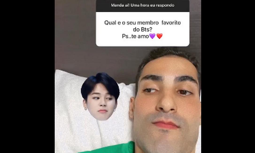 Jogador de vôlei Douglas Souza revelou que seu integrante favorito do BTS é o Jimin Foto: Reprodução