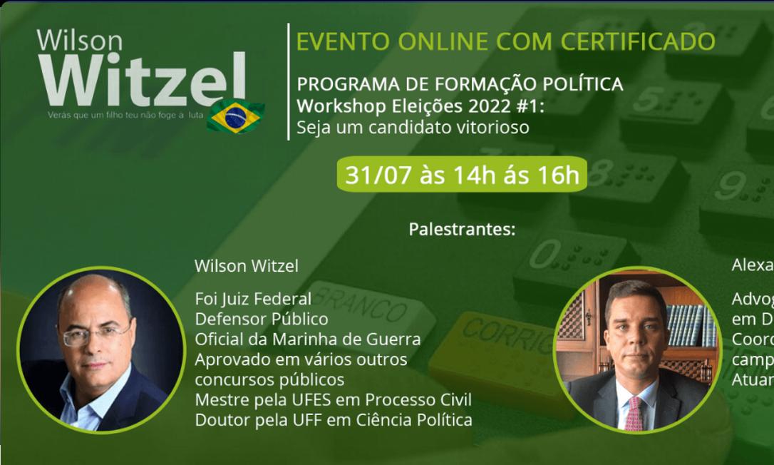 Witzel fará curso para formar 'candidatos vitoriosos' para as eleições de 2022 Foto: Reprodução