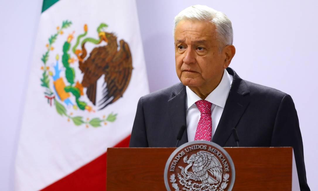 Presidente do México, Andrés Manuel López Obrador, discursa no Palácio Nacional na Cidade do México Foto: Edgard Garrido / Reuters/01-07-2021