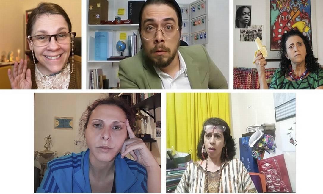 Formado por atores professores, o elenco contracena remotamente, em sessões ao vivo Foto: Reprodução