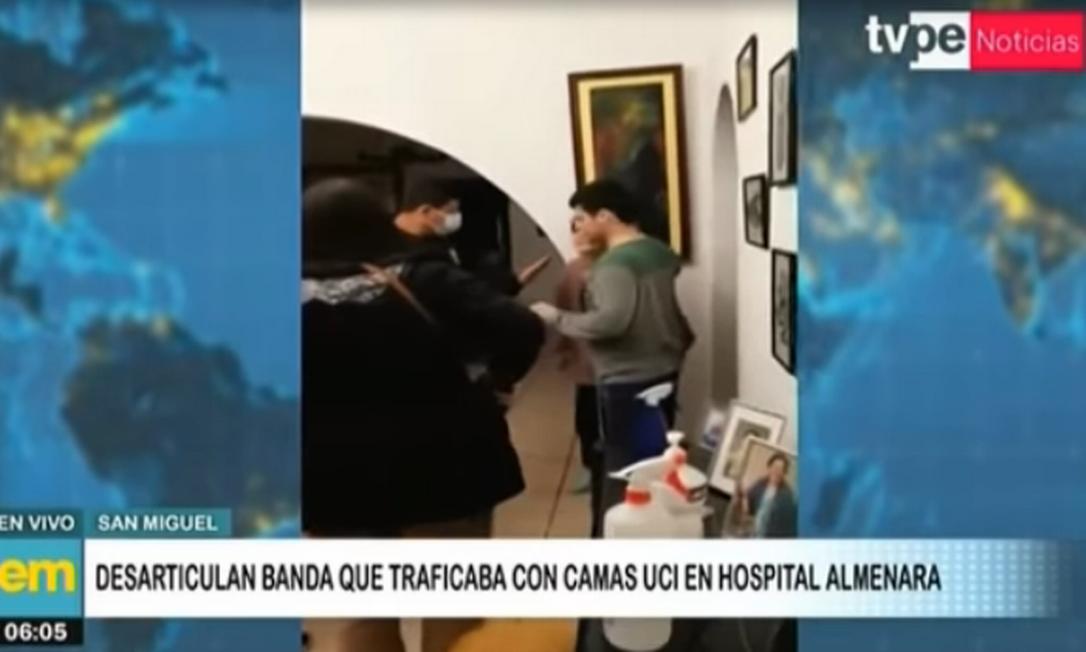 Nove pessoas de uma organização criminosa que vendia leitos de UTI por até R$ 109 mil em Lima, no Peru, foram presas Foto: Emissora TV Peru