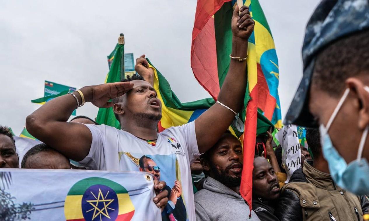 Prefeito de Addis Ababa, capital da Etiópia, convoca protestos contra a Frente de Libertação do Povo Tigray, Foto: AMANUEL SILESHI / AFP