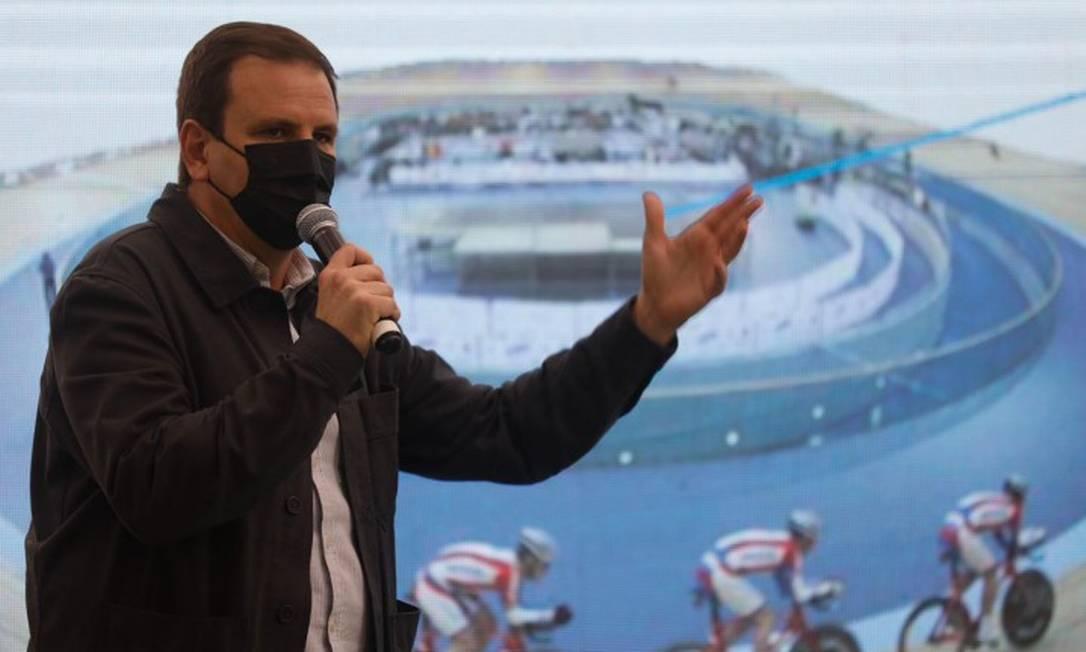 O prefeito Eduardo Paes anunciou o novo plano de legado do Parque Olímpico da Barra da Tijuca Foto: Luiza Moraes / Agência O Globo