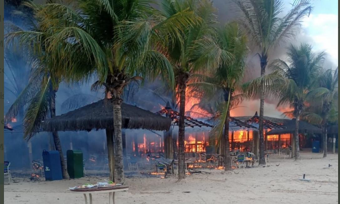 Restaurante do parque aquático Hot Park pegou fogo Foto: Reprodução