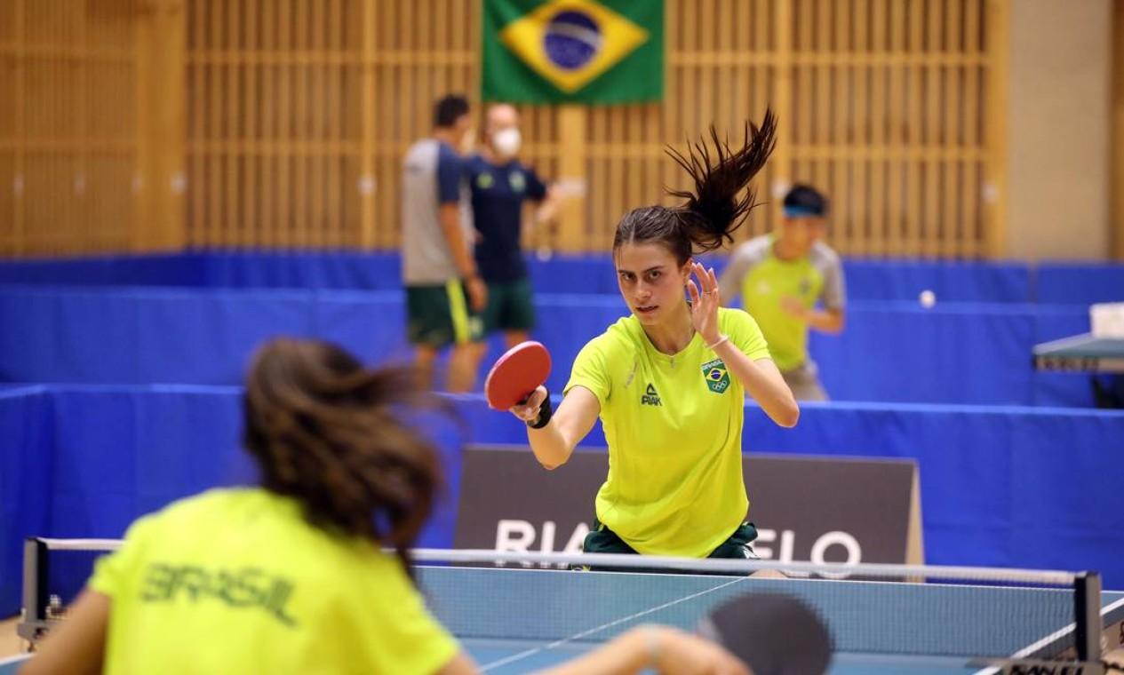 Bruna Takahashi em treino pelo Time Brasil, em Tóquio. Foto: Gaspar Nóbrega/COB / Gaspar Nóbrega/COB