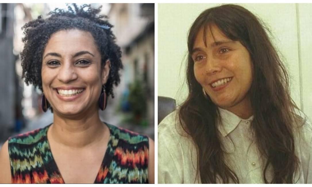 A vereadora Marielle Franco e a juíza Patricia Acioli: mortas com munição de forças de segurança Foto: Montagem
