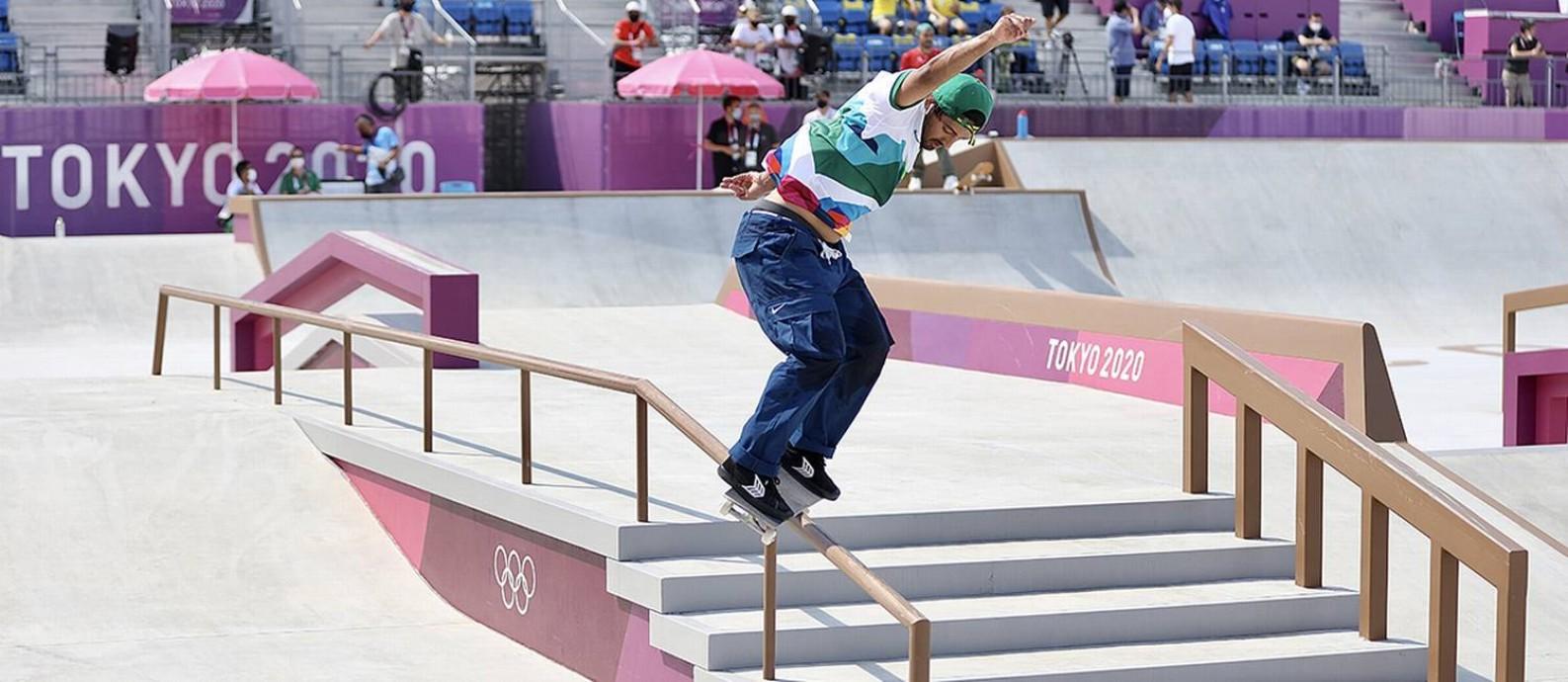 Kelvin durante treino na pista olímpica Foto: CBSk/Julio Detefon