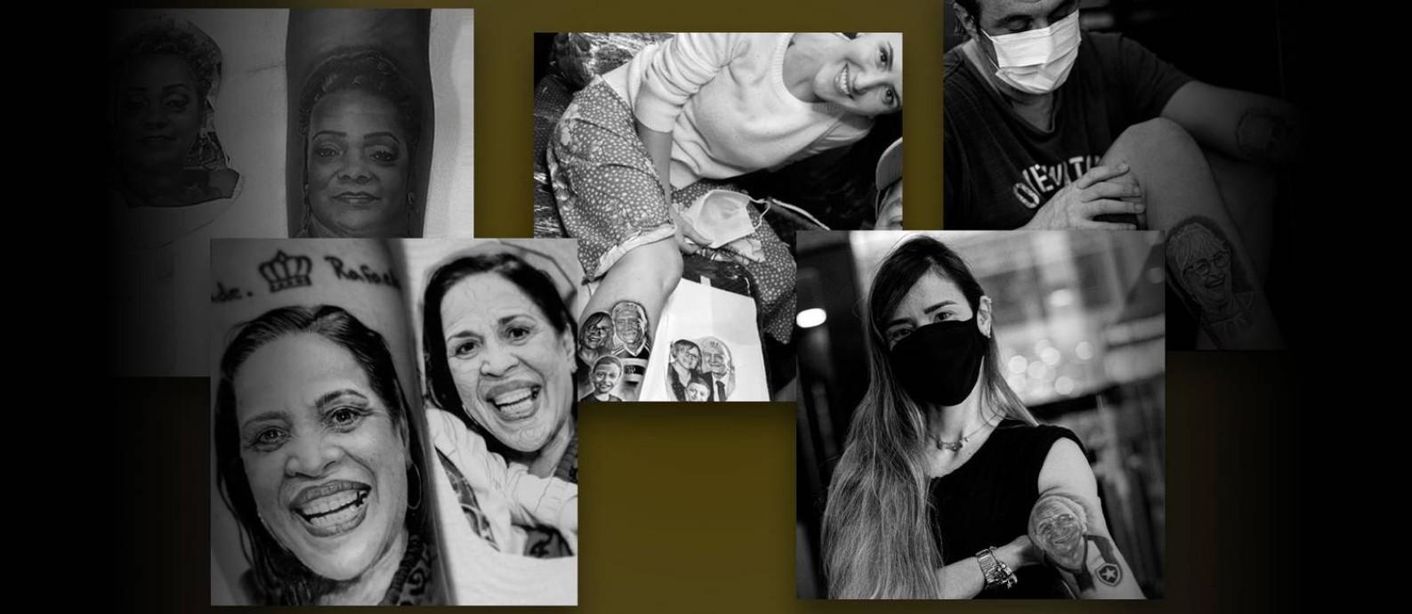 Para matar saudades de quem partiu pela Covid-19, parentes tatuam o rosto e eternizam o amor Foto: Editoria de arte