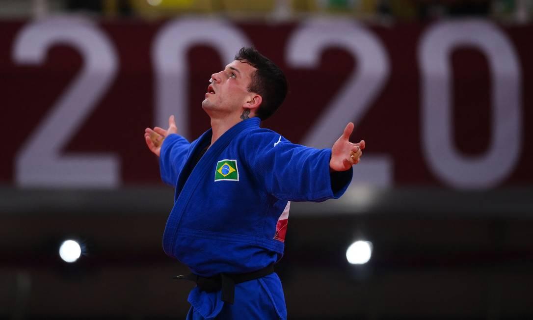 BrasileiroDaniel Cargnin celebra conquista do bronze no judô Olimpíada de Tóquio Foto: FRANCK FIFE / AFP