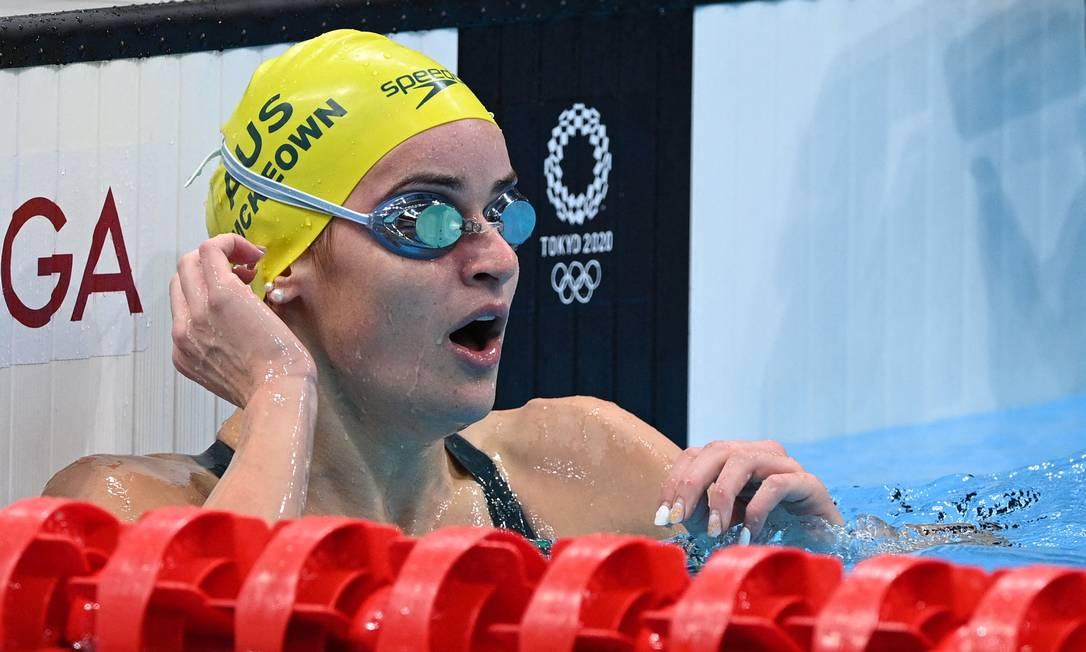 Kaylee McKeown quebrou recorde olímpico no nado costas Foto: OLI SCARFF / AFP