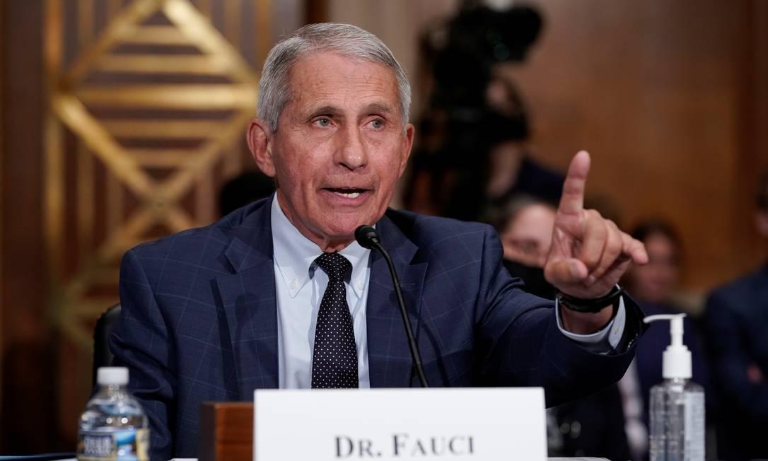 Anthony Fauci testemunha perante o Comitê de Saúde, Educação, Trabalho e Pensões do Senado em Washington, EUA Foto: POOL / REUTERS/20-07-2021