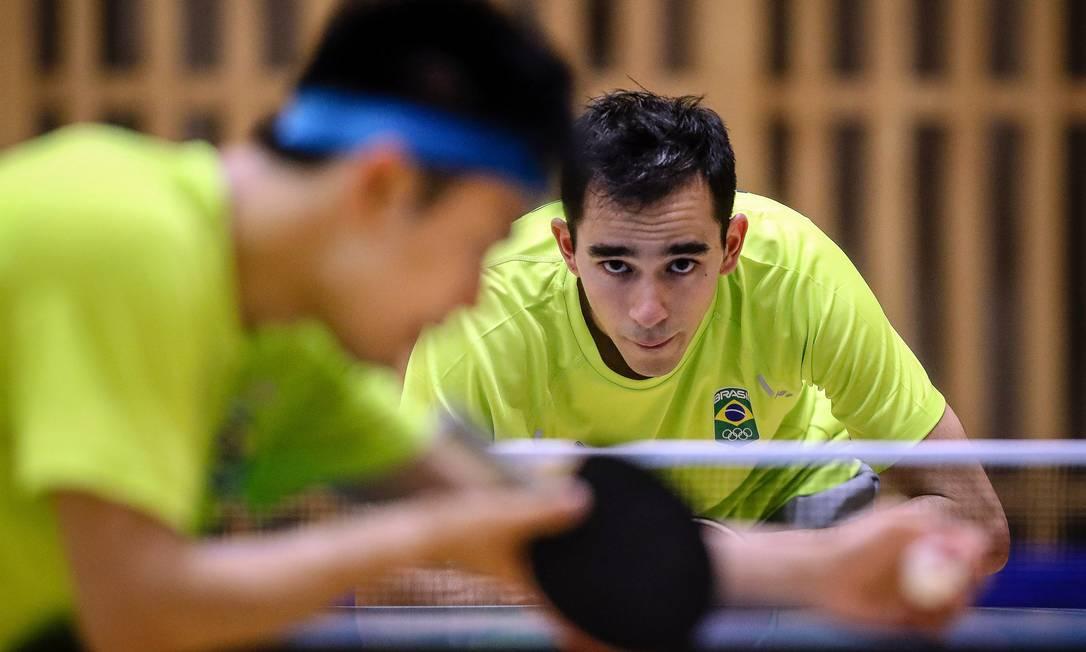 Hugo Calderano durante treino em Tóquio. Foto: Gaspar Nóbrega / COB