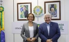 Ministro da Ciência e Tecnologia, Marcos Pontes, com deputada alemã de extrema-direita Beatrix von Storch Foto: Ministério da Ciência e Tecnologia
