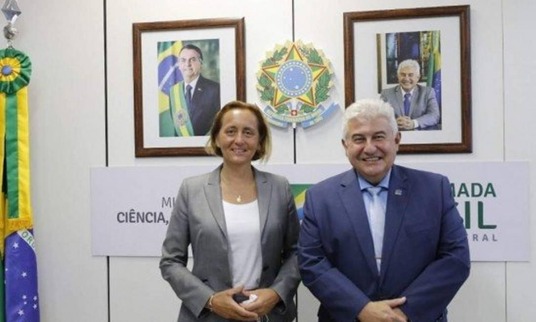 Ministro da Ciência e Tecnologia, Marcos Pontes, com deputada alemã de extrema direita Beatrix von Storch Foto: Ministério da Ciência e Tecnologia