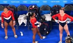Simone Biles no ginásio Ariake: americana desistiu da competição por equipes Foto: ANTONIN THUILLIER / AFP
