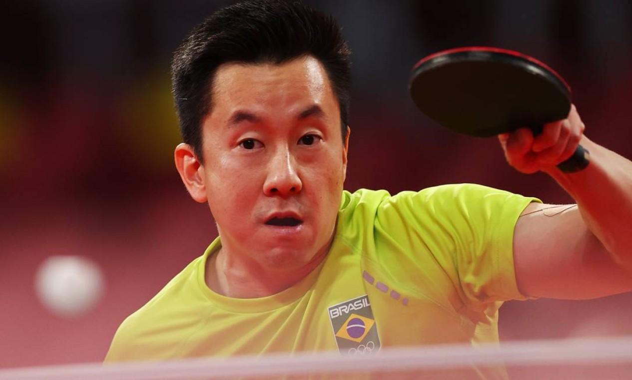 Nas oitavas de final do tênis de mesa, não deu para Gustavo Tsuboi. O brasileiro foi derrotado por Lin Yun-Ju, de Taiwan, por 4 a 2 Foto: LUISA GONZALEZ / REUTERS