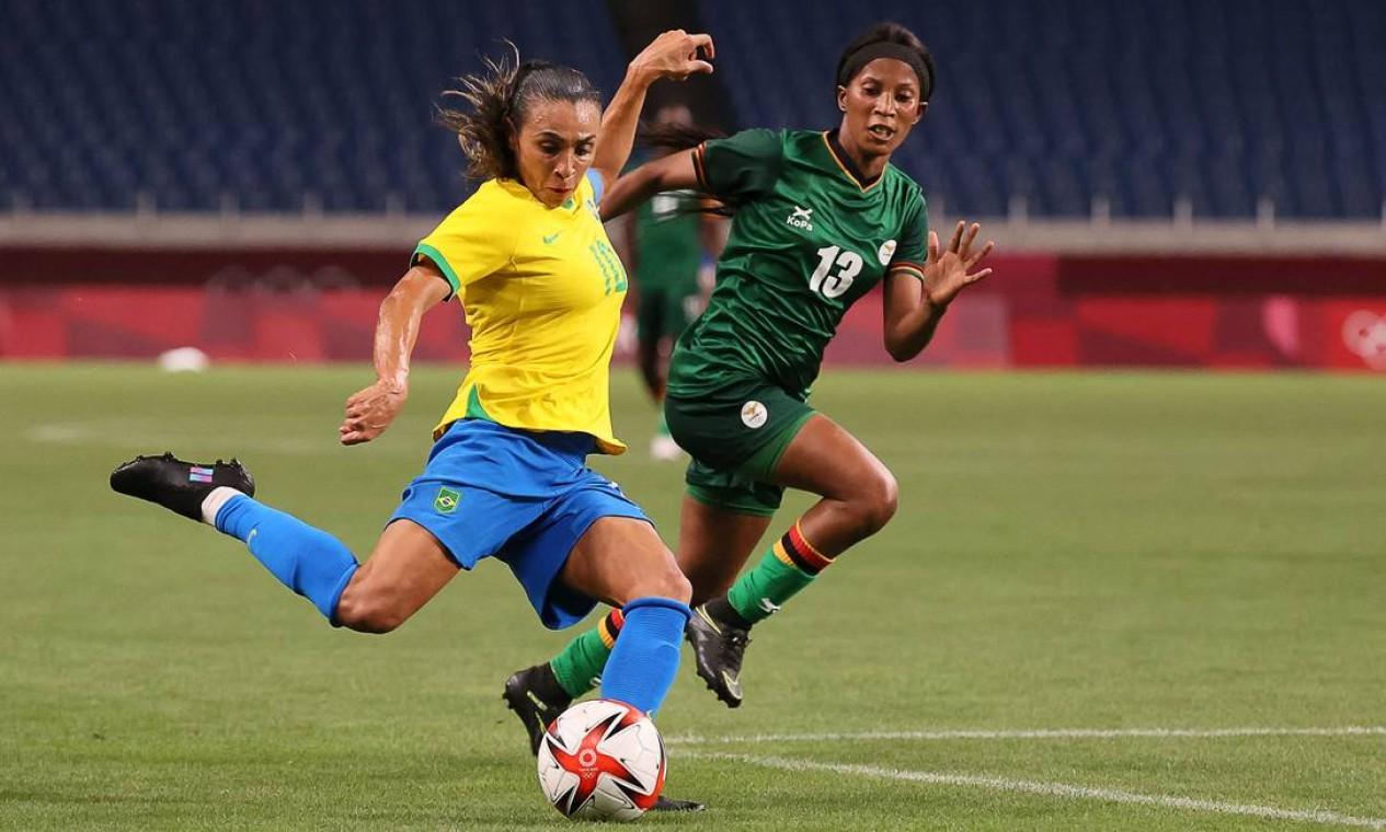A seleção feminina de futebol venceu a Zâmbia por 1 a 0 nesta terça e vai enfrentar o Canadá nas quartas de final Foto: AYAKA NAITO / AFP