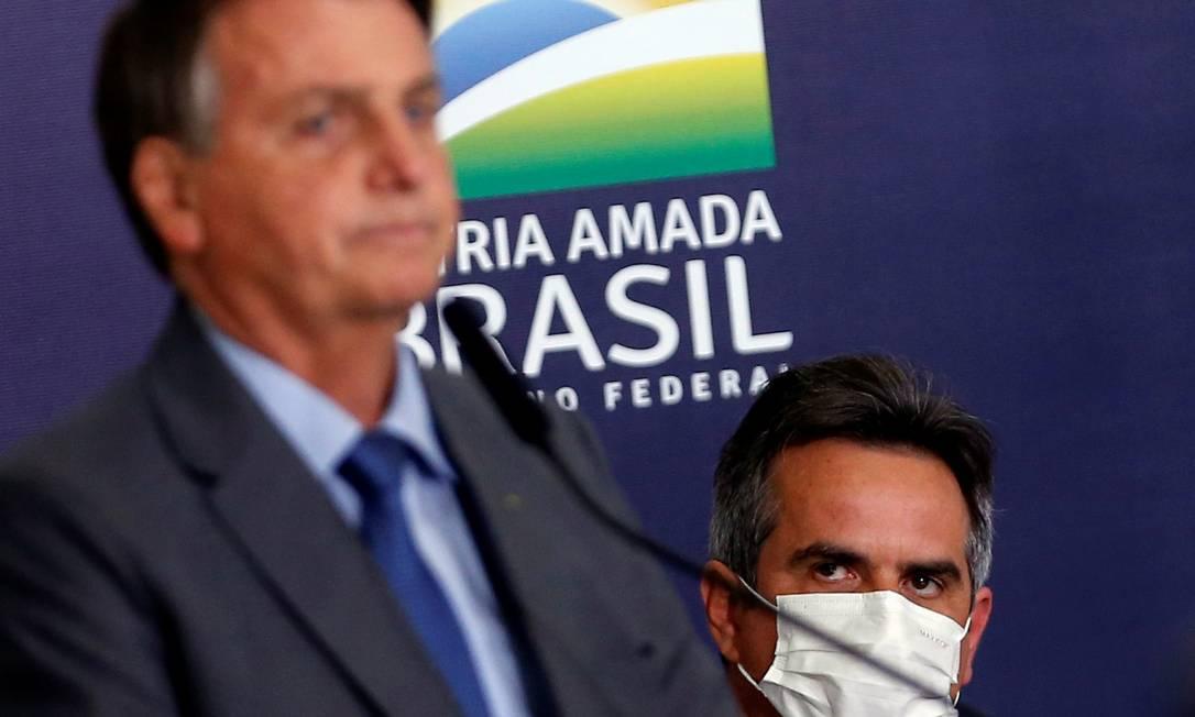O presidente Jair Bolsonaro e o senador Ciro Nogueira, durante cerimônia no Palácio do Planalto Foto: Adriano Machado/Reuters/28-07-2021