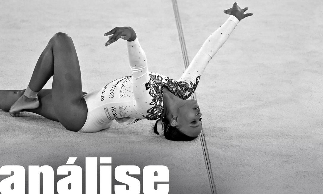 Rebeca Andrade em ação na apresentação do solo na classificação da ginástica artística Foto: Editoria de arte/Dylan Martinez/REUTERS