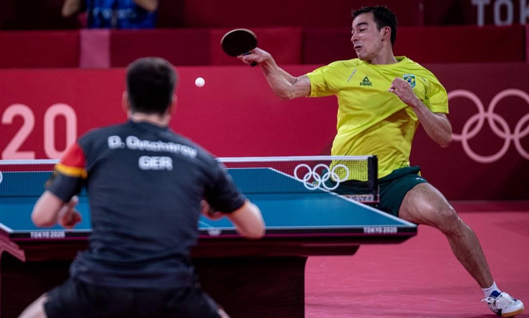 Hugo Calderano nas quartas de final da Olimpíada de Tóquio: derrota de virada para alemão Foto: Wander Roberto/COB