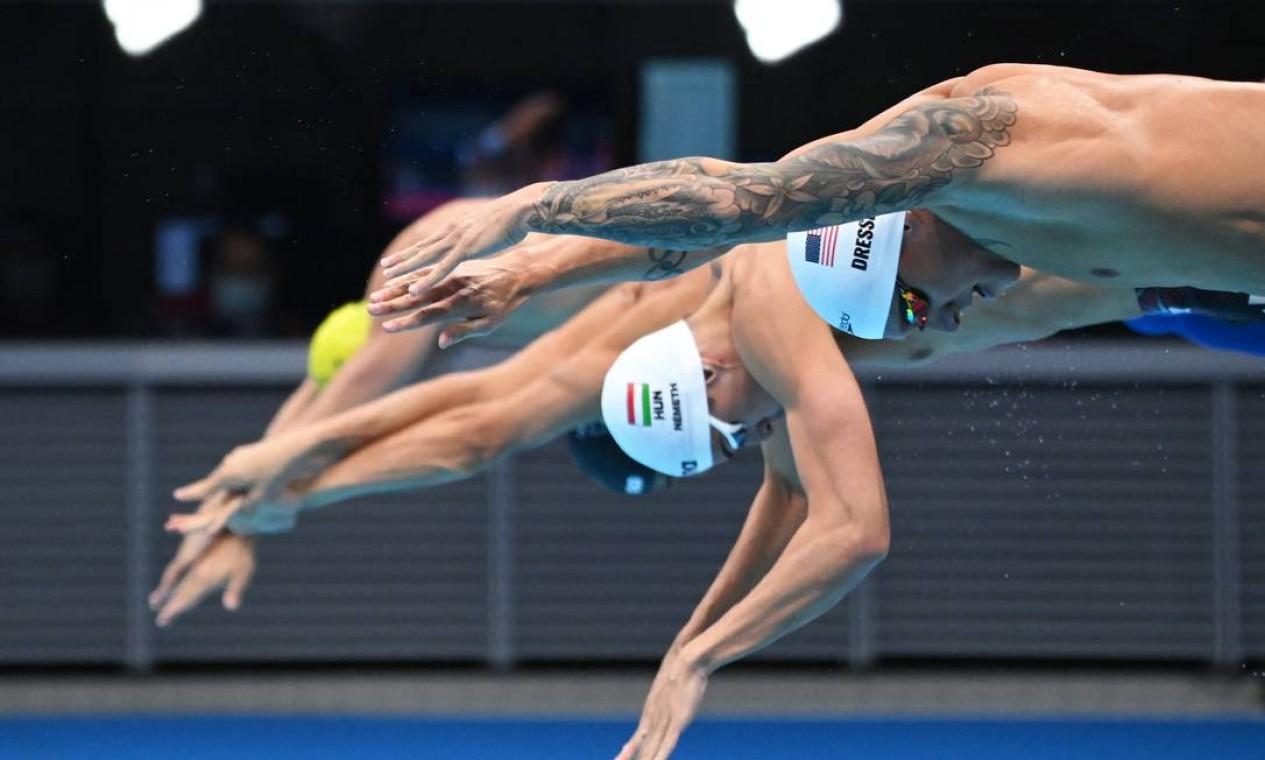 O nadador Caeleb Dressel, dos EUA Foto: JONATHAN NACKSTRAND / AFP