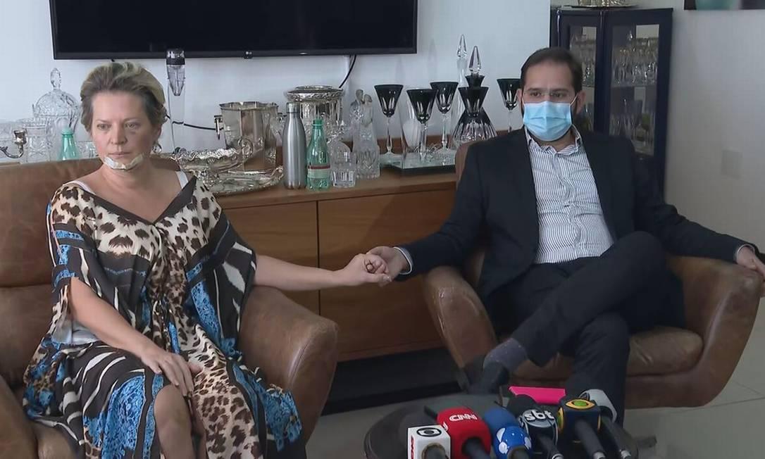 Joice Hasselmann e marido, Daniel França, negam violência doméstica em entrevista coletiva Foto: TV Globo/Reprodução