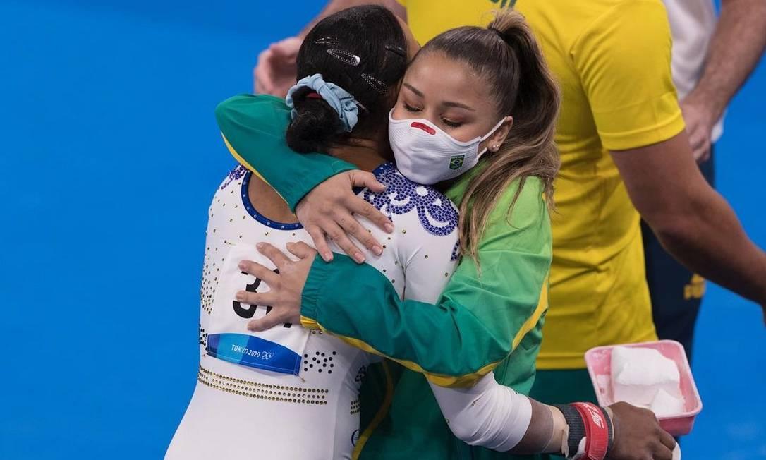 As ginastas Flávia Saraiva e Rebeca Andrade Foto: Reprodução Instagram