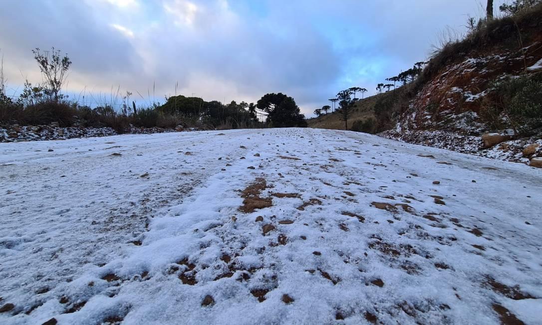Neve em São Joaquim, Santa Catarina, 29/07/2021 Foto: Mycchel Legnaghi / São Joaquim Online/Agência O Globo