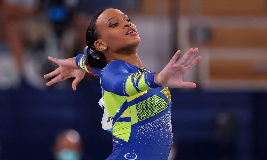 Rebeca Andrade em sua apresentação no solo, que garantiu a medalha de prata na ginástica artística, na final individual geral na Olimpíada de Tóquio Foto: LINDSEY WASSON / REUTERS